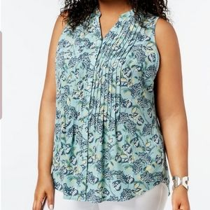 NEW CHARTER CLUB PLUS SIZE 2X PLEATED BLOUSE TOP